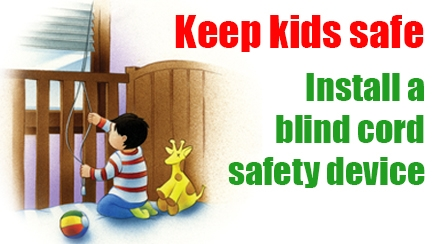 Blind cord safety message with child in cot